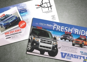 Postcard design. Ford dealership