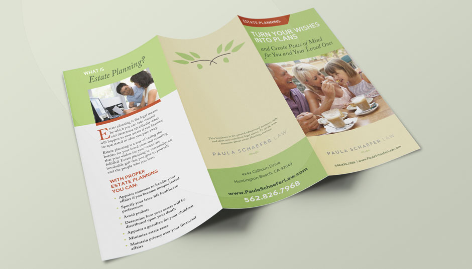 Tri fold brochure design for paula schaefer law for Home design reddit
